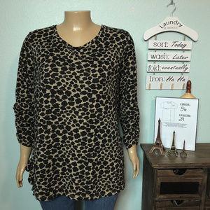 Terra & Sky Animal Print Ruffled Sweater Shirt 2X